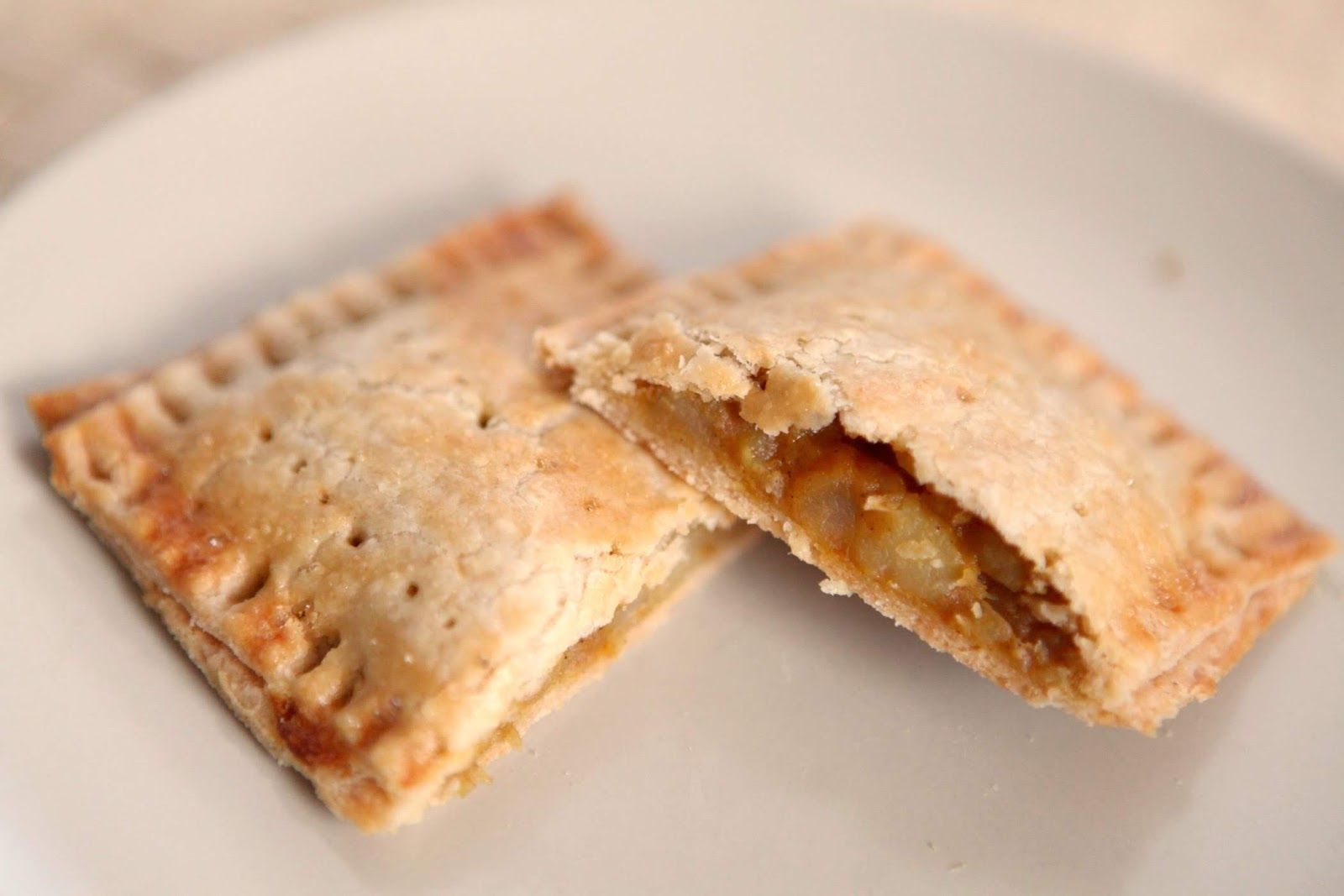 Homemade pop tarts with curried onion and potato filling.