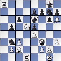 Posición partida de ajedrez Medina-Rossetto1946, posición después de 22.Cd5!!