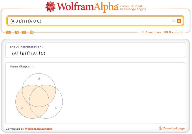 http://www.wolframalpha.com/input/?i=%28A+%E2%8B%83+B%29+%E2%88%A9+%28A+%E2%8B%83+C%29