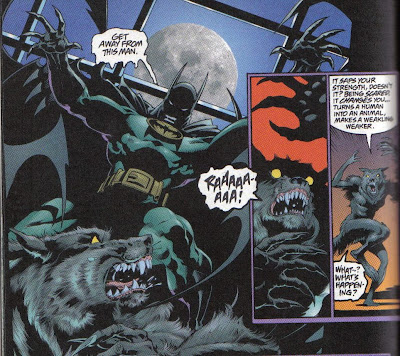 Batman scares a werewolf to death.  Pretty much.