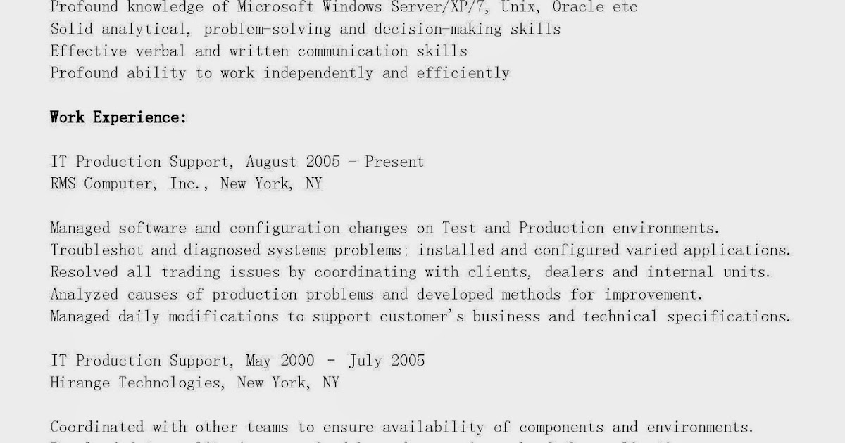 resume samples  it production support resume sample