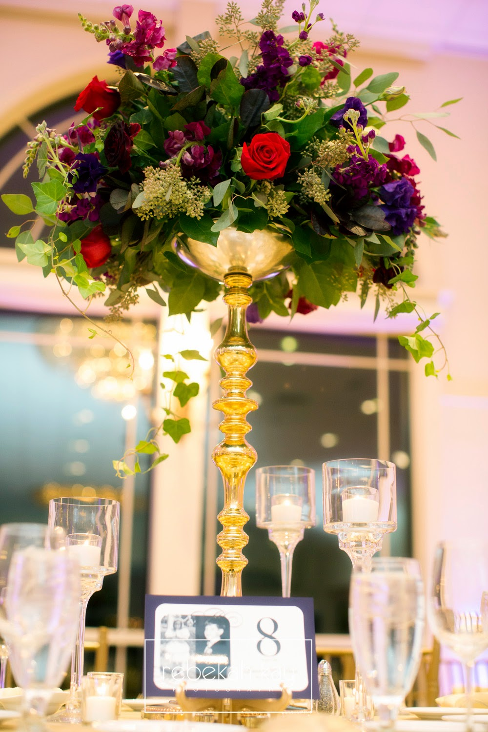 les fleurs : rebekah kay photography : granite links country club : gold : red and purple : tall centerpieces
