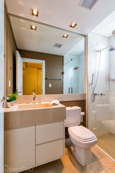 BANHEIROS PEQUENOS MODERNOS 4 ESTILOS + 25 FOTOS  Decor Alternativa -> Banheiro Pequeno Moderno