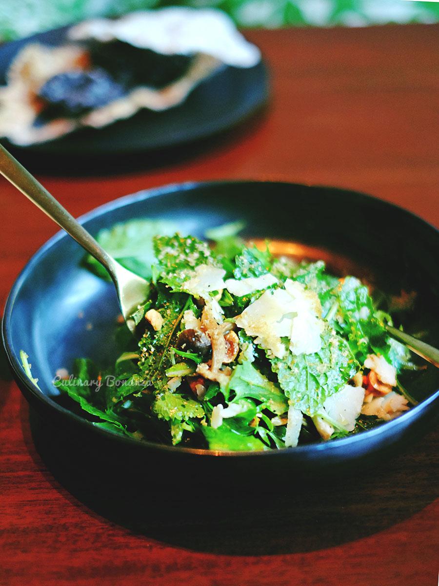 Young Kale salad with hazelnuts, shimeji, truffle pecorino & shallot Vinaigrette (www.culinarybonanza.com)