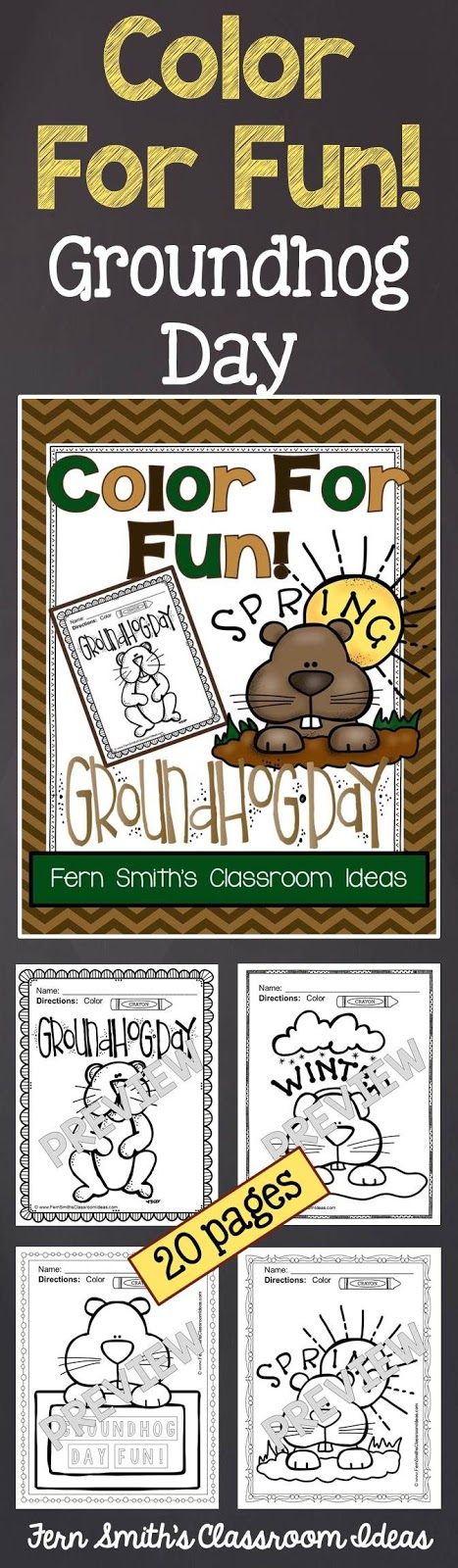 Fern Smith's Classroom Ideas Classroom Groundhog Day Fun! Color For Fun Printable Coloring Pages