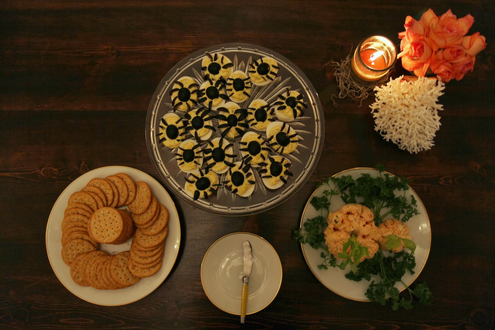 Deviled Eggs and Cheese Dish - Spooky Glam Halloween Party