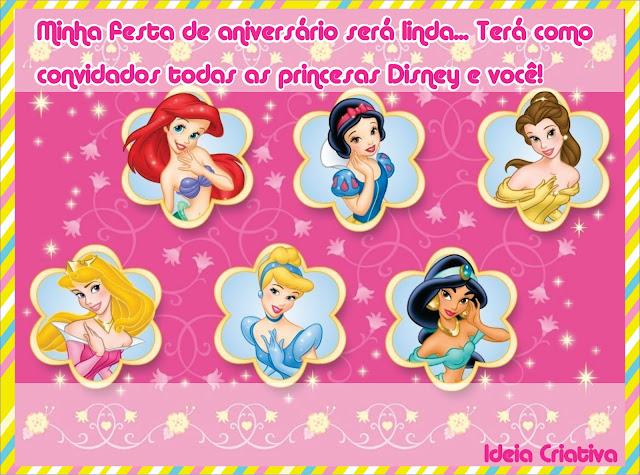 Convite de aniversário Princesas Disney