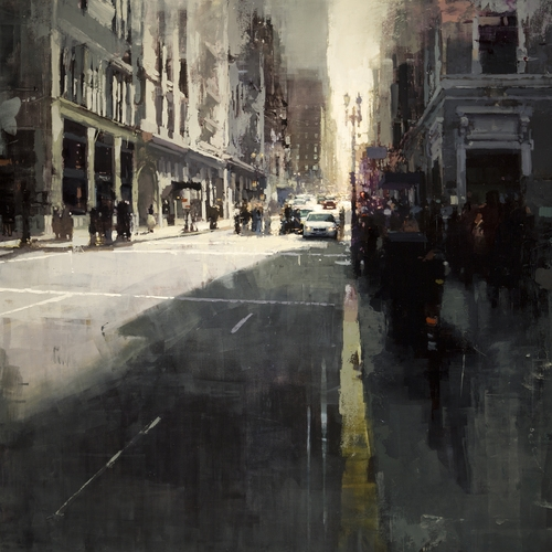 08-Sunset-by-Union-Square-Jeremy-Mann-Figurative-Painting-in-Cityscapes-Oil-Paintings-www-designstack-co
