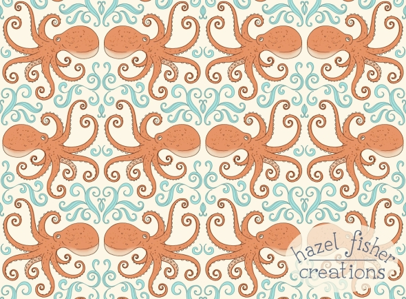 Cephalopod Octopus Spoonflower design hazelfishercreations