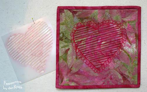 stencil next to quilted piece