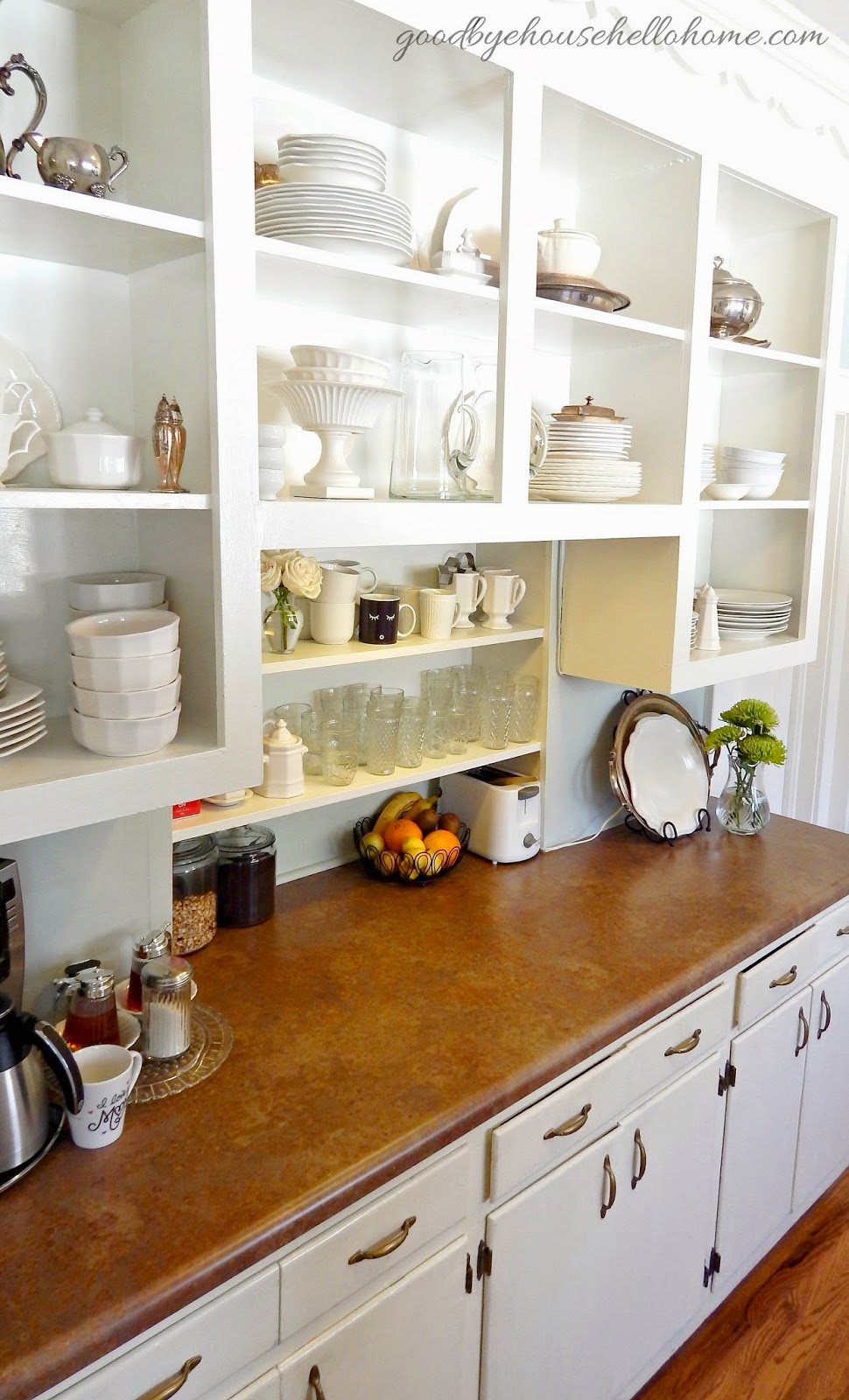 Goodbye, House. Hello, Home! Blog : Open Kitchen Cabinets ...