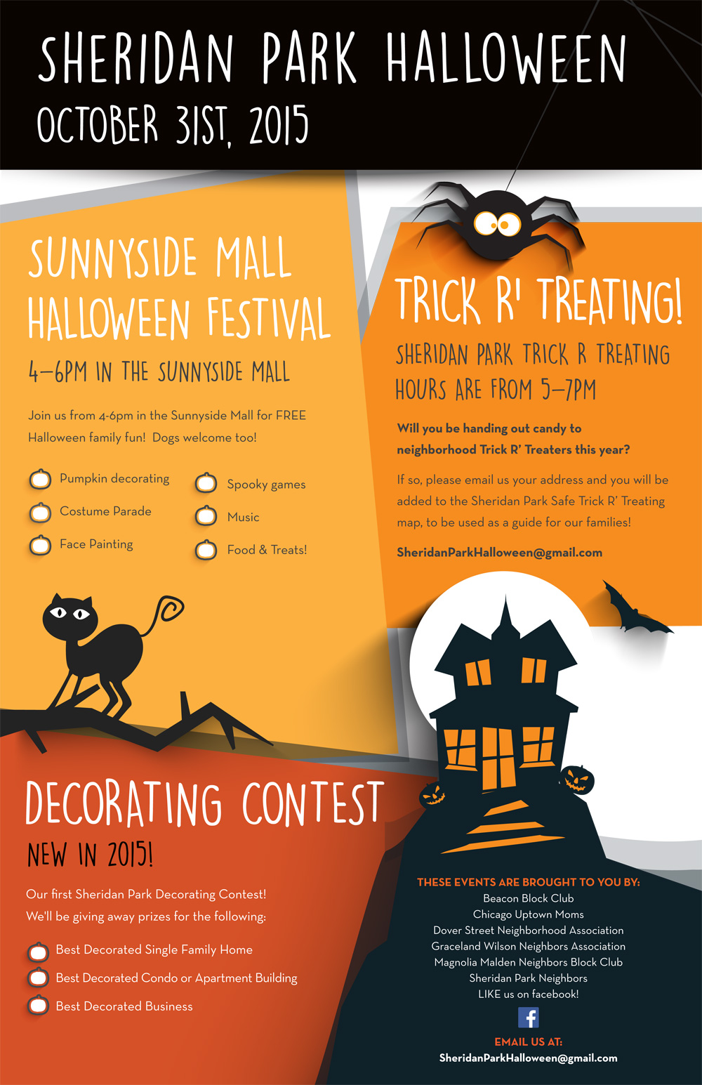 sheridan park celebrates halloween with a party on sunnyside mall a home and business decorating contest and trick or treating - Halloween Decorating Contest