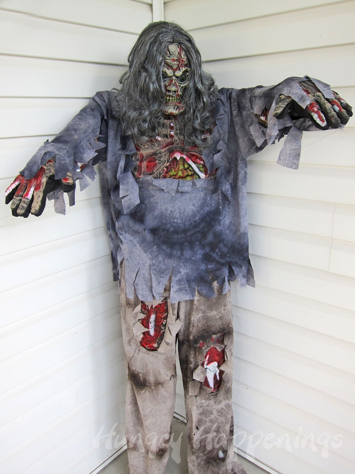 Build a halloween prop using a costume and pvc plus a for Zombie build