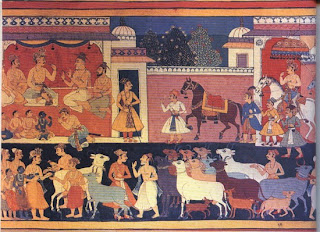 Rama as bridegroom in procession for his marriage to Sita Illustration to the Ramayana. Mewar, 1649, Prince of Wales Museum of Western India.