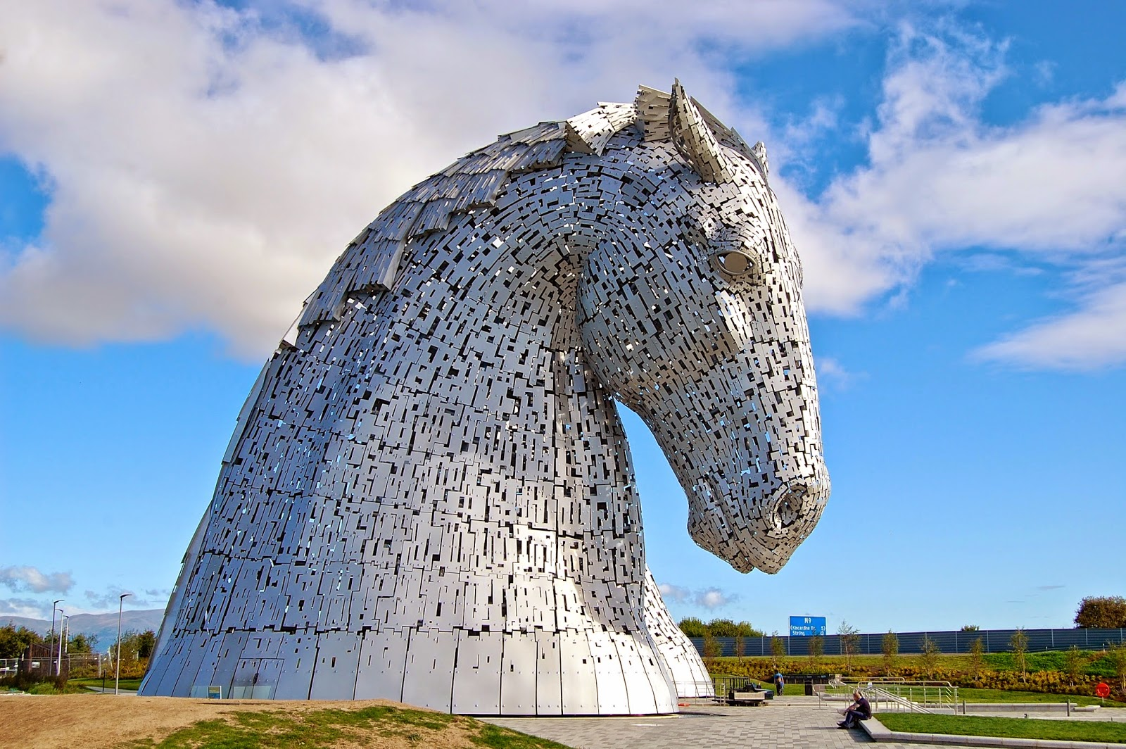 Kelpie with head down, Falkirk, Scotland