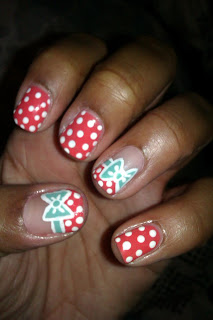 Mint, coral, polka dot, bow, nail art, mani