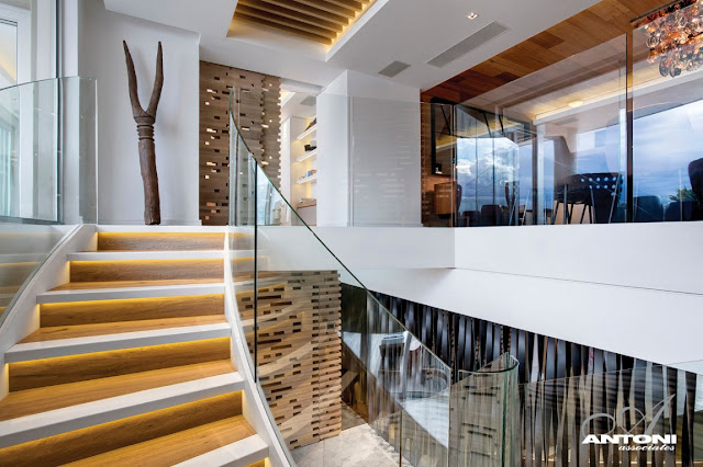 Picture of modern wood and glass staircase