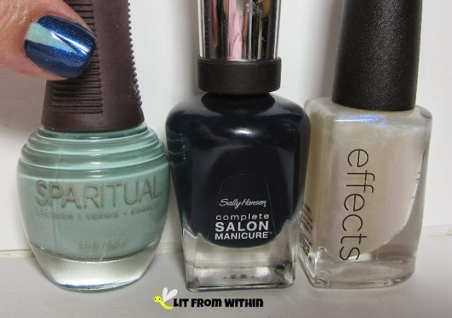 blue bottle shot:  SpaRitual Energy, Sally Hansens Salon Nightwatch, and CND Ice Blue Shimmer