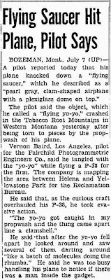 Flying Saucer Hit Plane, Pilot Says - Pittsburgh Press, The 7-7-1947
