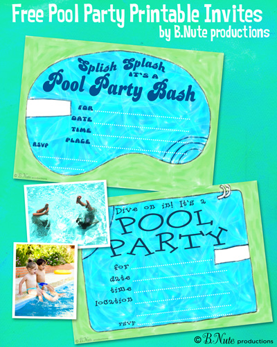 bnute productions Free Printable Pool Party Invitations – Free Printable Pool Party Invitations
