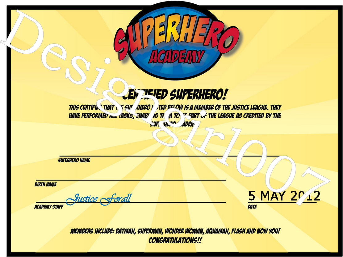 free printable superhero award certificate template car
