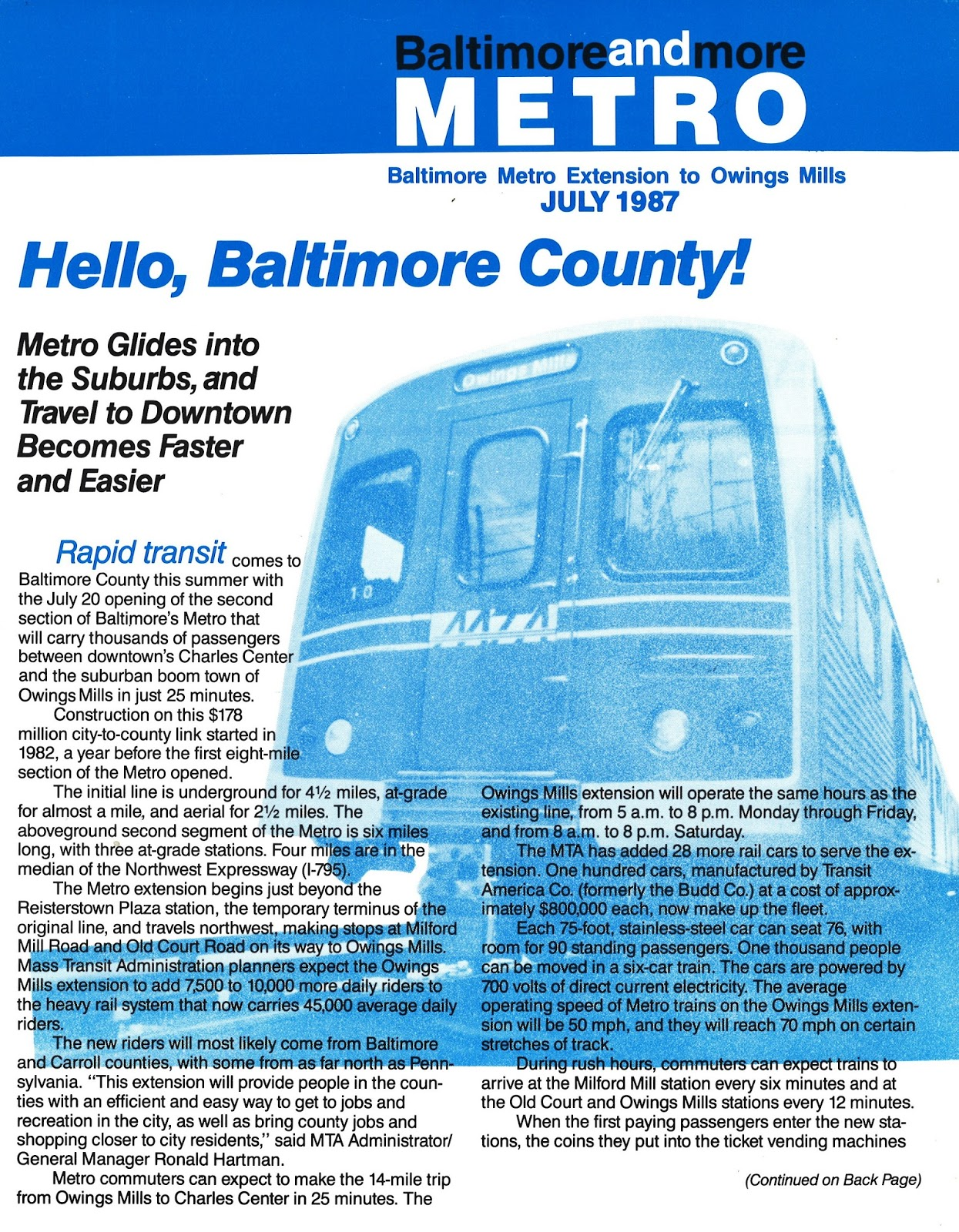 baltimore metro celebrates 28 years of connecting out of town with downtown