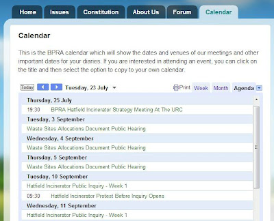screen grab of the BPRA calendar