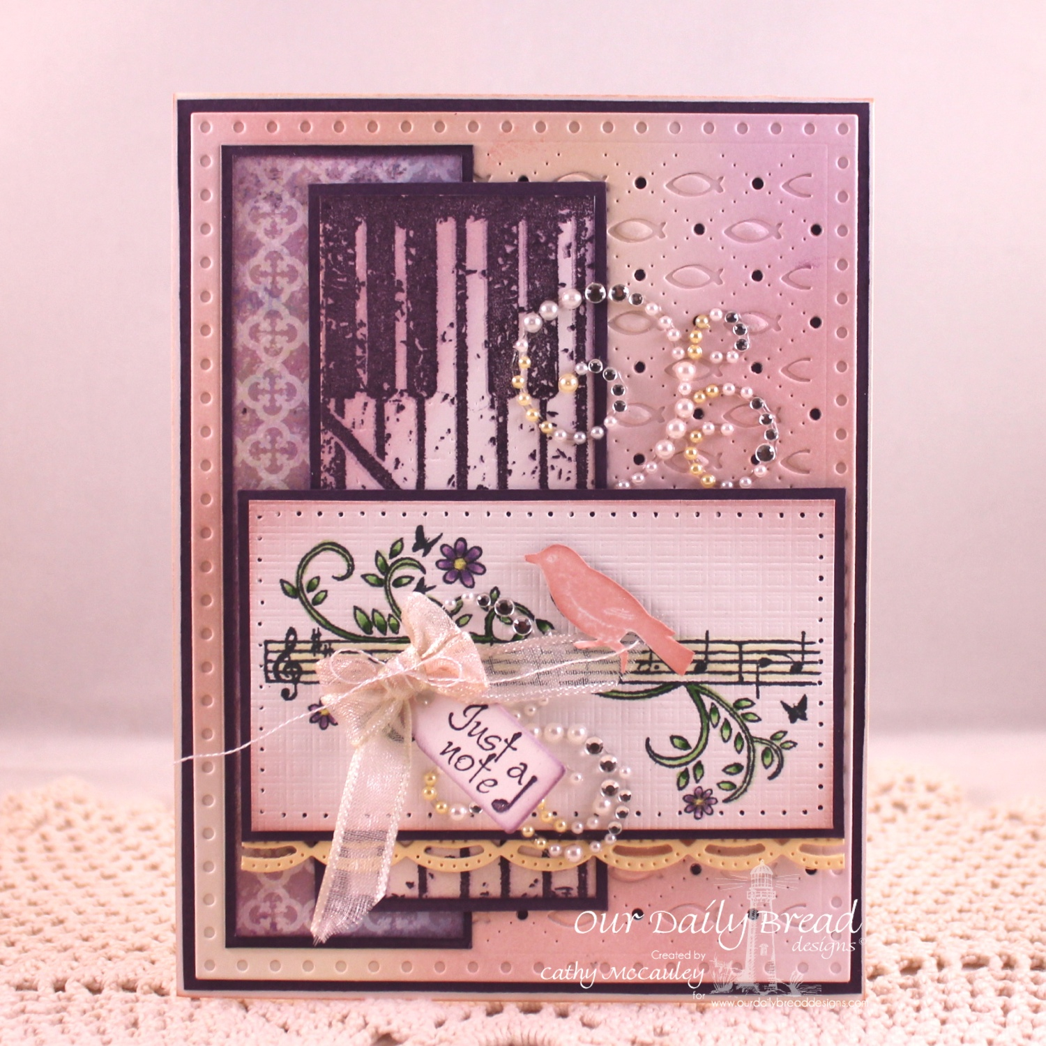 Stamps - Our Daily Bread Designs Music Speaks, Just a Note, Grunge Piano Background, ODBD Custom Faithful Fish Pattern Die and Debossing Plate, ODBD Custom Mini Tags Dies, ODBD Custom Beautiful Borders Dies, ODBD Christian Faith Paper Collection