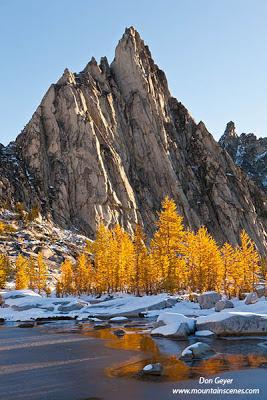Prusik Peak and fall larches in the Enchantment Lakes area, Alpine Lakes Wilderness, Cascade range, Washington, USA.