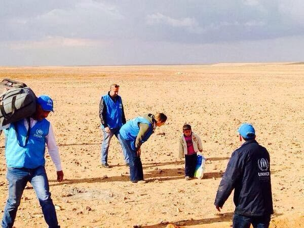 Baby found alone in the desert of Syria