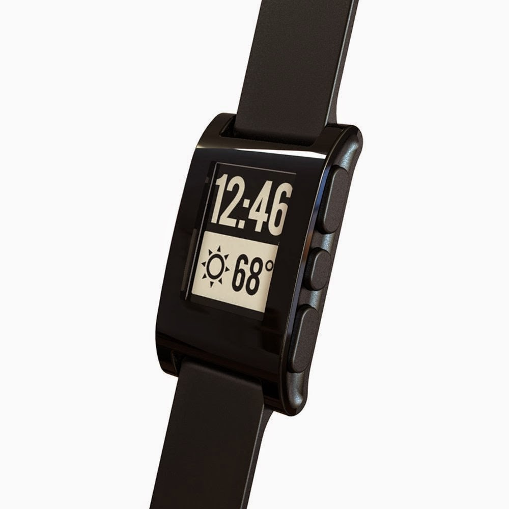 The Pebble Smartwatch connects to your iPhone or Android