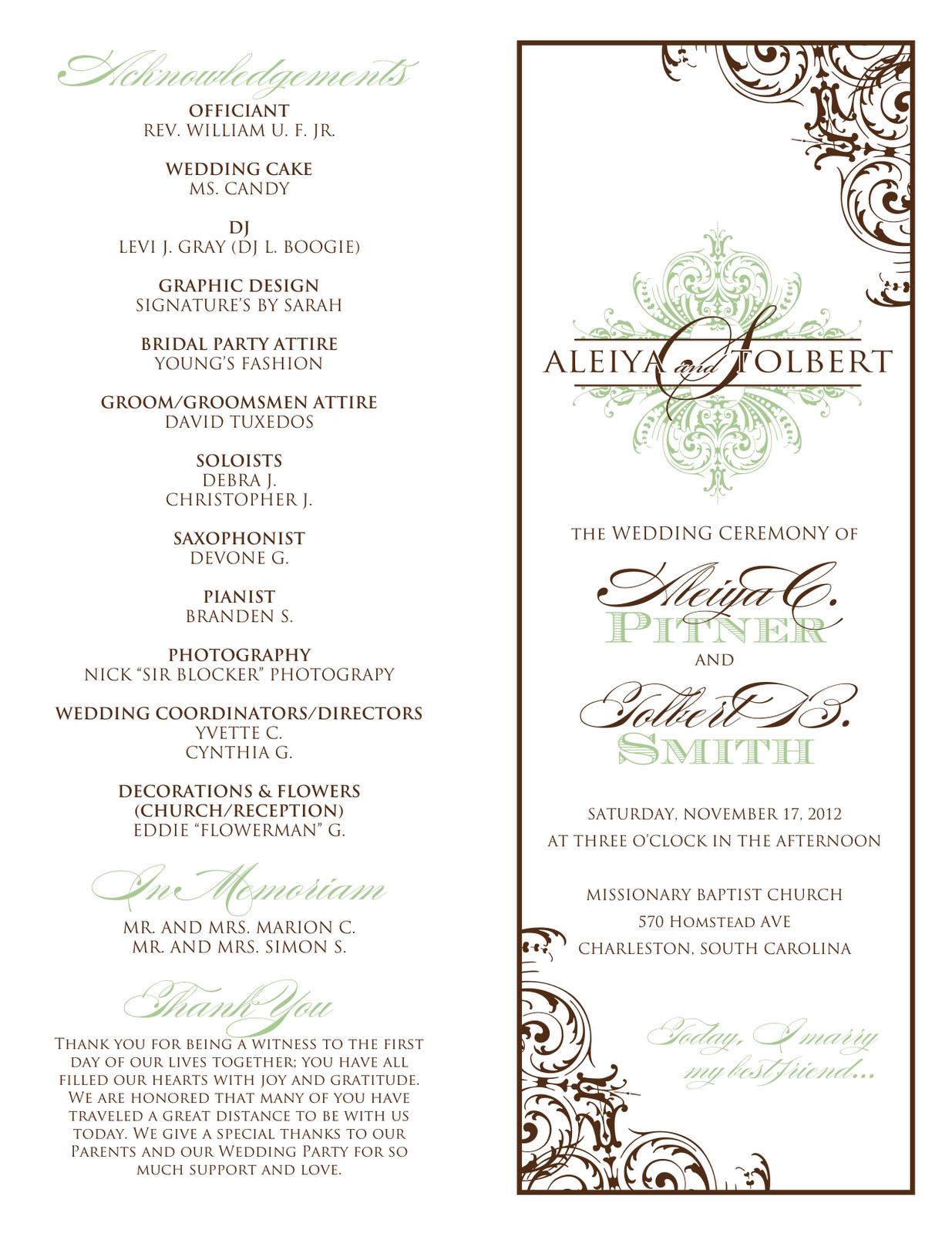 Wedding Card Signatures Card Design Using Wedding