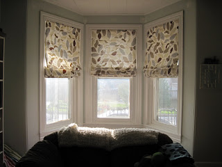Our old abode roman shades check them off the list for Smith and noble bamboo shades