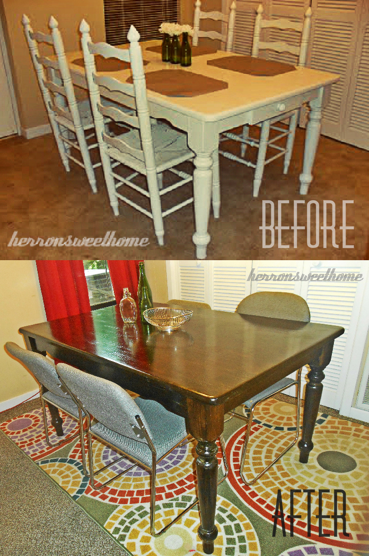 Chic a cherry cola refinished dining room table for Refinished dining room table