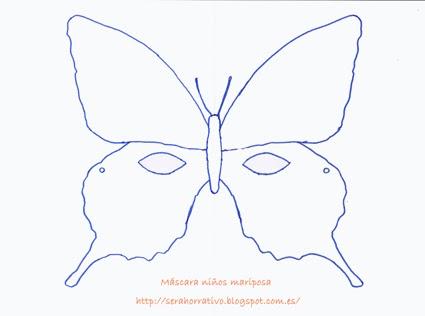 antifaz mariposa niños gratis plantilla colorear