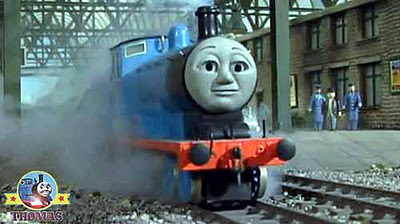 Thomas and friends Edward the great railway blue train engine set off slow steady out the station