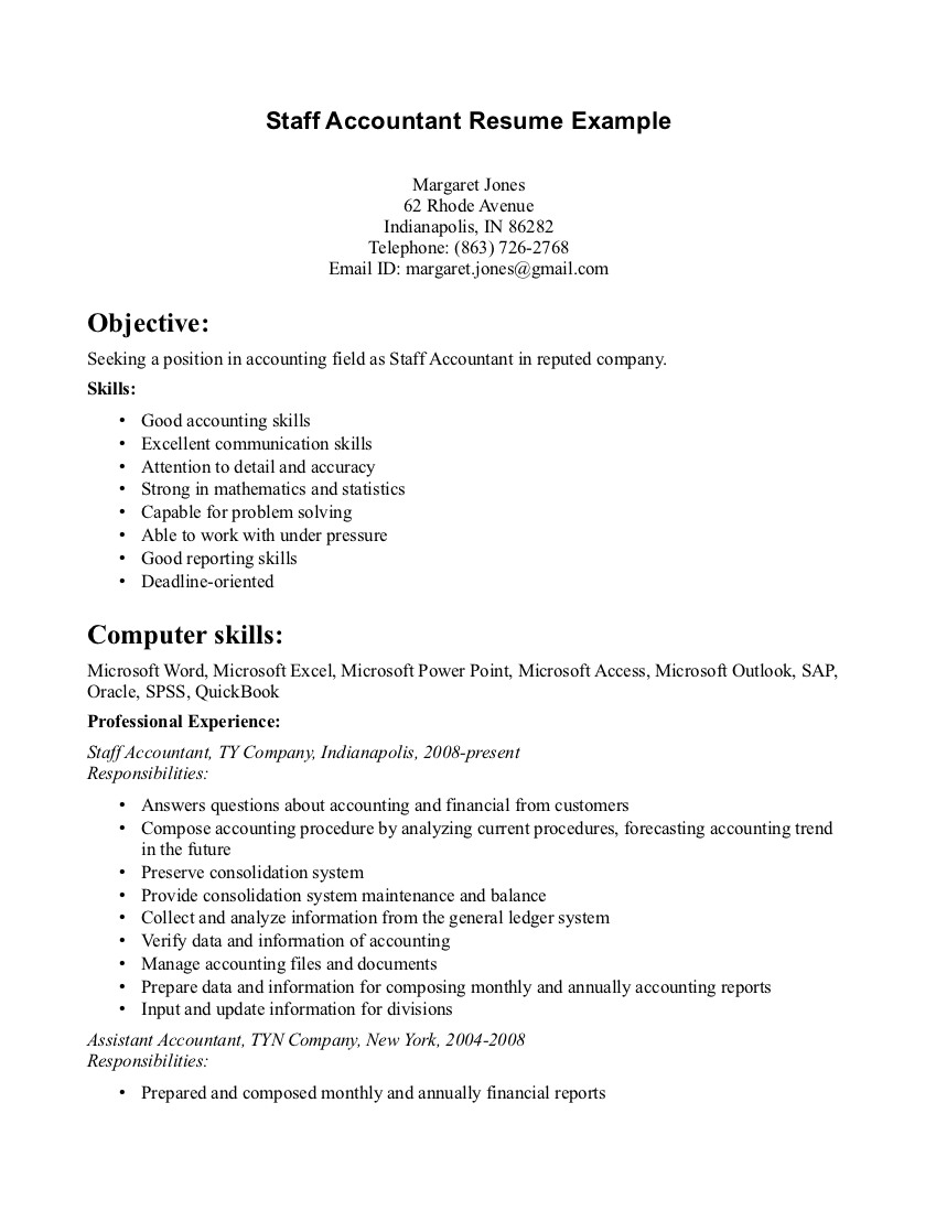 Accounting resume skills