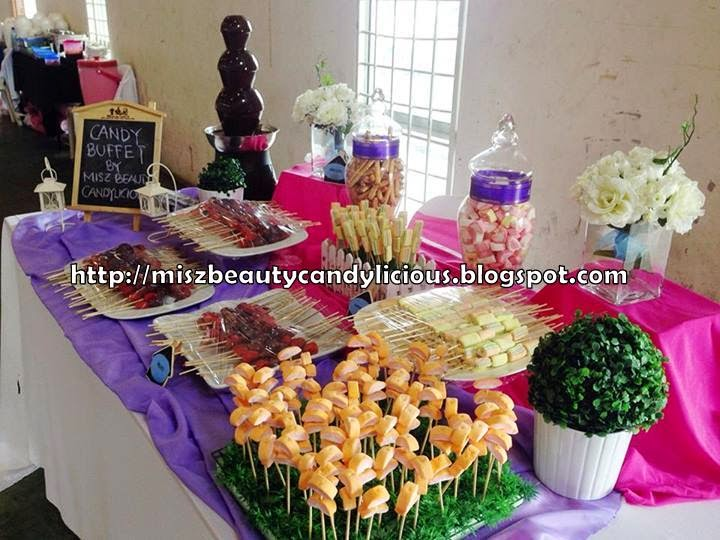 Candy Buffet For Wedding Reception Garden Theme Purple Pink