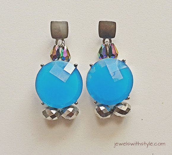 m renee design, jewels with style, statement earrings, blue earrings, statement jewelry, handmade jewelry