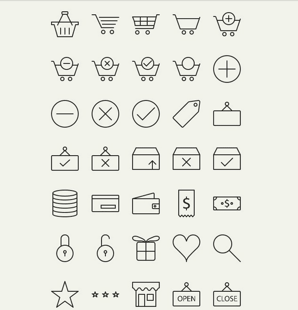 Free Outline E-Commerce Icons (AI, EPS, PNG)