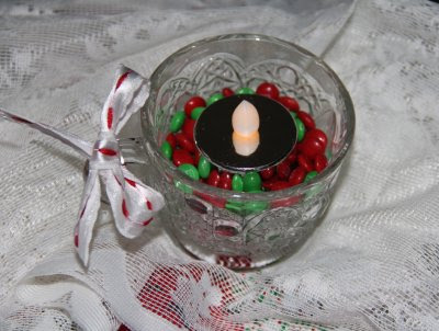 votive candles with holiday candy 2