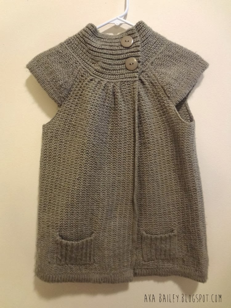Razzle Dazzle taupe sweater, sleeveless, cap sleeves, big buttons