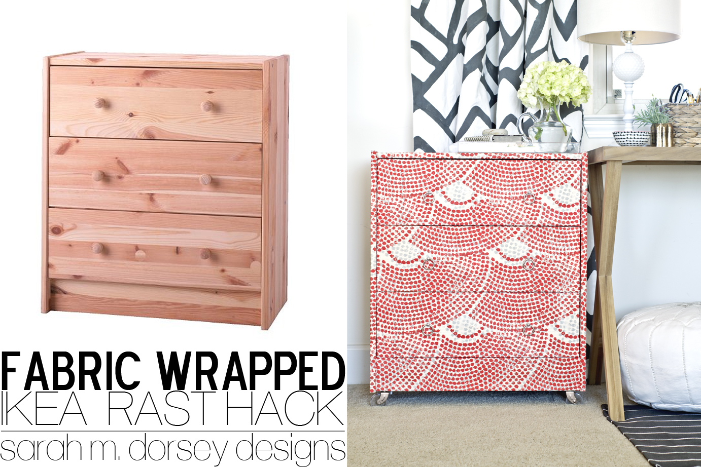 Ikea Rast Dresser Hack | Fabric Wrapped with Custom Ring Pulls and Acrylic  Casters