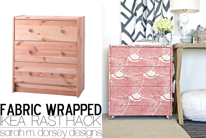 ikea rast dresser hack fabric wrapped with custom ring pulls and acrylic casters - Ikea Rast