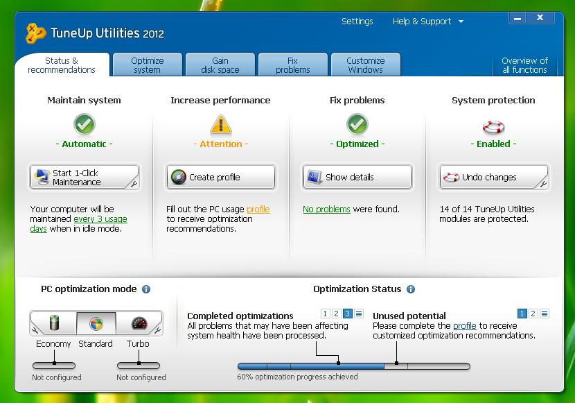 Free Download TuneUp Utilities 2012 Full version with Serial Keys