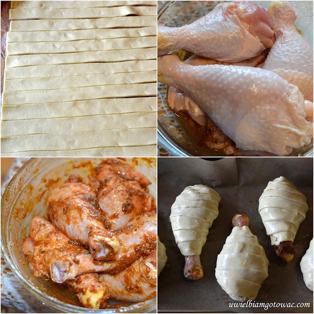 Pałki kurczaka w cieście francuskim
