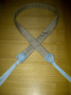 camera strap, fabric rosettes, craft exchange