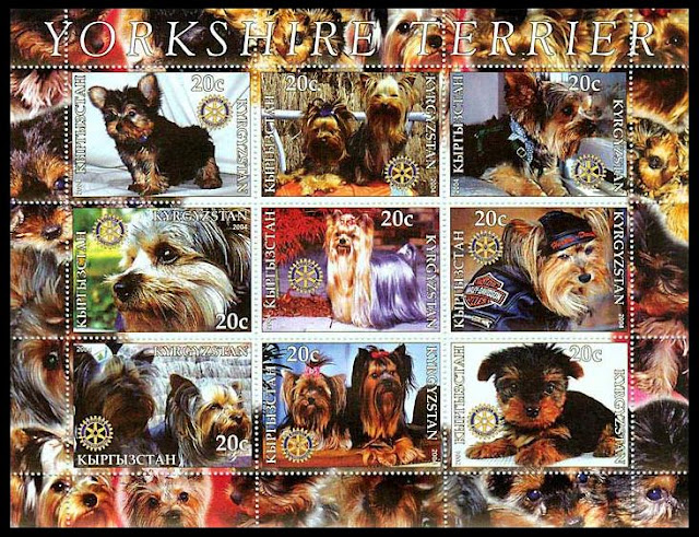 2004年キルギスタン共和国 ヨークシャー・テリアの切手シート