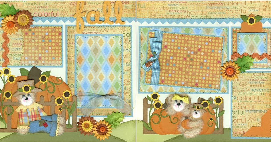 Scrapbooking for others tear bear fall premade scrapbook for Premade columns