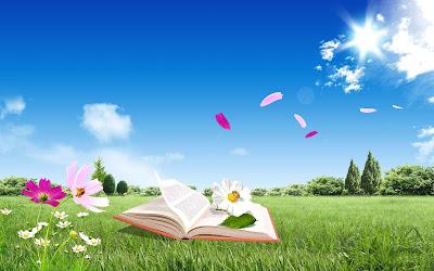 Libro abierto en un maravilloso paisaje con flores